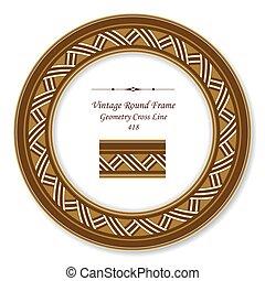 Vintage Round Retro Frame of Brown Geometry Cross Line