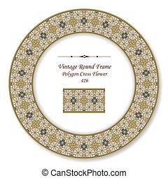 Vintage Round Retro Frame of Brown Polygon Cross Flower