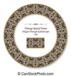 Vintage Round Retro Frame of Brown Polygon Triangle Kaleidoscope