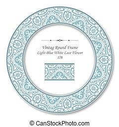 Vintage Round Retro Frame of Elegant Light Blue White Lace Flower