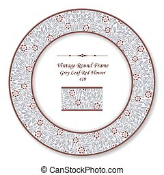 Vintage Round Retro Frame of Grey Leaf Red Flower
