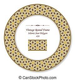 Vintage Round Retro Frame of Islamic Brown Star Polygon