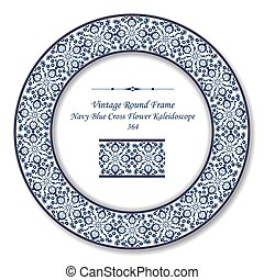 Vintage Round Retro Frame of Navy Blue Cross Flower...