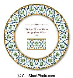 Vintage Round Retro Frame of Orange Green Flower