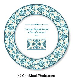Vintage Round Retro Frame of Oriental China Blue Flower