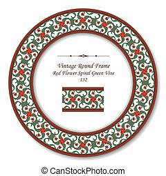 Vintage Round Retro Frame of Red Flower Spiral Green Vine