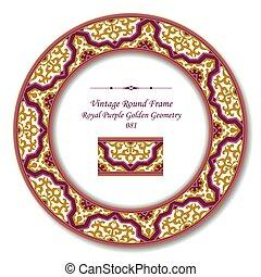 Vintage Round Retro Frame of Royal Purple Golden Geometry