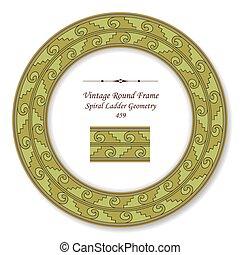 Vintage Round Retro Frame of Spiral Green Ladder Geometry