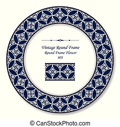 Vintage Round Retro Frame round cross blue frame flower