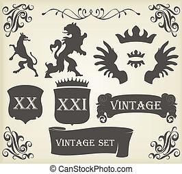 Vintage royal birds coat of arms illustration for poster