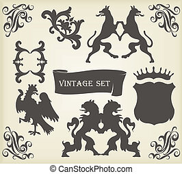 Vintage royal birds coat of arms illustration