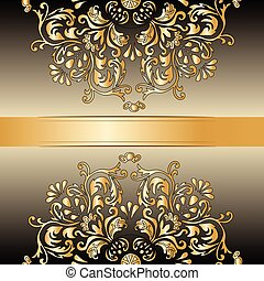 Vintage Royal classic ornament border background in gold....