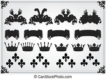 Vintage royal coat of arms elements