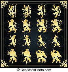 Vintage royal coat of arms elements lion - Vintage royal...