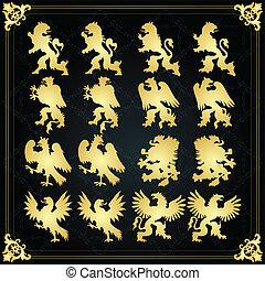 Vintage royal coat of arms elements lion