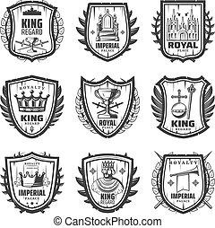 Vintage Royal Coat Of Arms Set