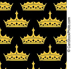 Vintage royal seamless apttern with golden crowns