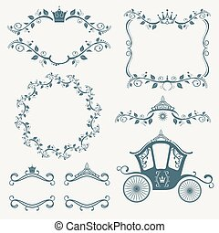 Vintage royalty frames with crown, diadems, carriages vector set