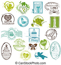 Vintage Rubber Stamp Collection - for your design, scrapbook - in vector