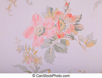 Vintage run-down wallpaper with shabby floral pattern