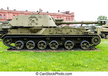 Vintage Russian military vehicle on green gras