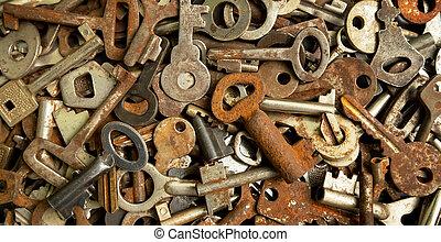 Vintage rusted keys, metal texture