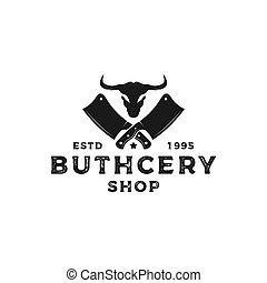 vintage rustic butchery shop logo design with buffalo head