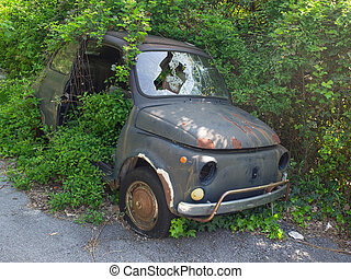 vintage rusty fiat 500 abandoned damaged in bad condition -...