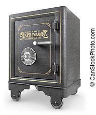 Antique iron safe isolated on white background