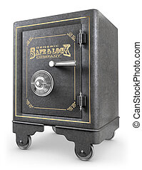 Vintage Safe - Antique iron safe isolated on white ...