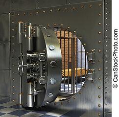Vintage Safes - Opened Antique iron safe isolated on white...