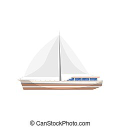 Vintage sail yacht side view isolated icon