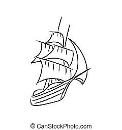 vintage sailboat icon. Hand drawn sketch vector