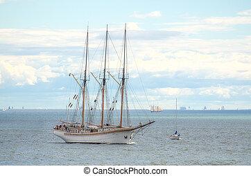 Vintage sailboat regatta in Helsinki. Finland.