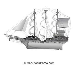 Vintage sailing ship isolated on white background.