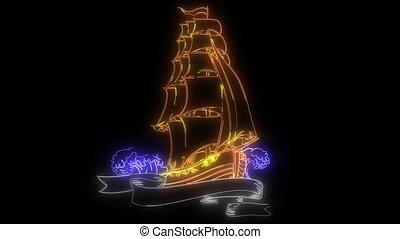 Vintage sailing ship. laser animation