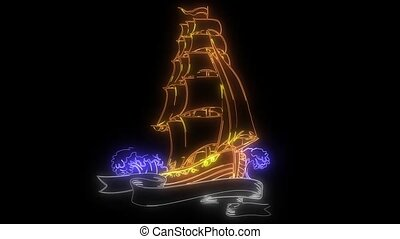 Vintage sailing ship. video animation - Vintage sailing...