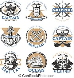 Vintage Sailor Logo Set - Colored vintage sailor logo set...