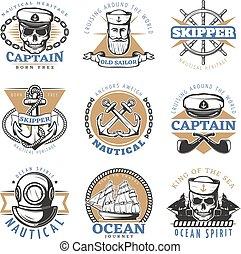 Colored vintage sailor logo set with cruising around the world old sailor ocean journey descriptions vector illustration