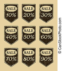 Vintage sale icons set. Discount from 10 to 90 percent....