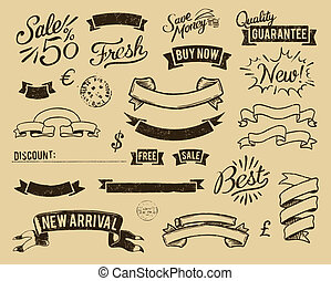 Vintage sale icons set - Vector file has 3 layers: 1-...