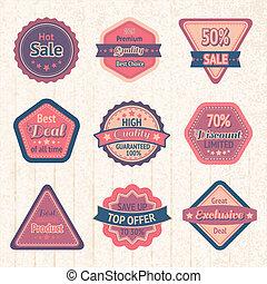 Vintage sale labels and badges set