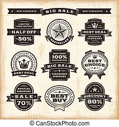 Vintage sale labels set