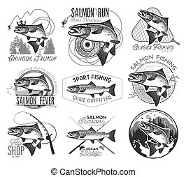 Vintage salmon fishing emblems - Vintage Salmon Fishing...