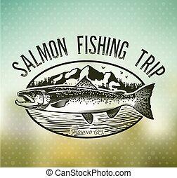 Vintage Salmon fishing emblems