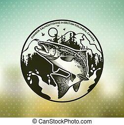 Vintage Salmon fishing emblems - Salmon Fishing emblem on...