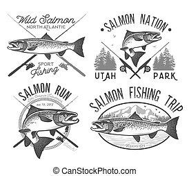Vintage Salmon Fishing emblems, labels and design elements. Vector illustration.