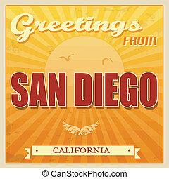 Vintage San Diego, California poster - Vintage Touristic...