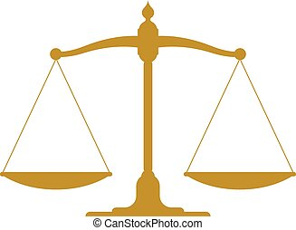 Illustration of a set of golden vintage scales in balance and equilibrium conceptual of justice and equality