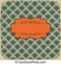 Vintage scale pattern with retro label. Vector, EPS10